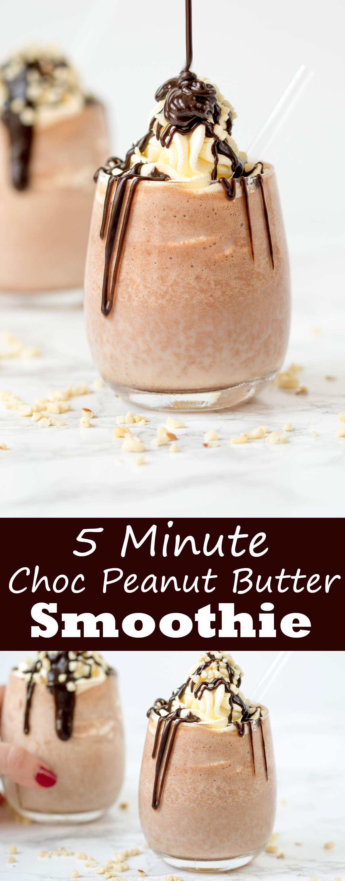 5 Minute chocolate peanut butter smoothie with whipped cream and chocolate sauce. So delicious!!