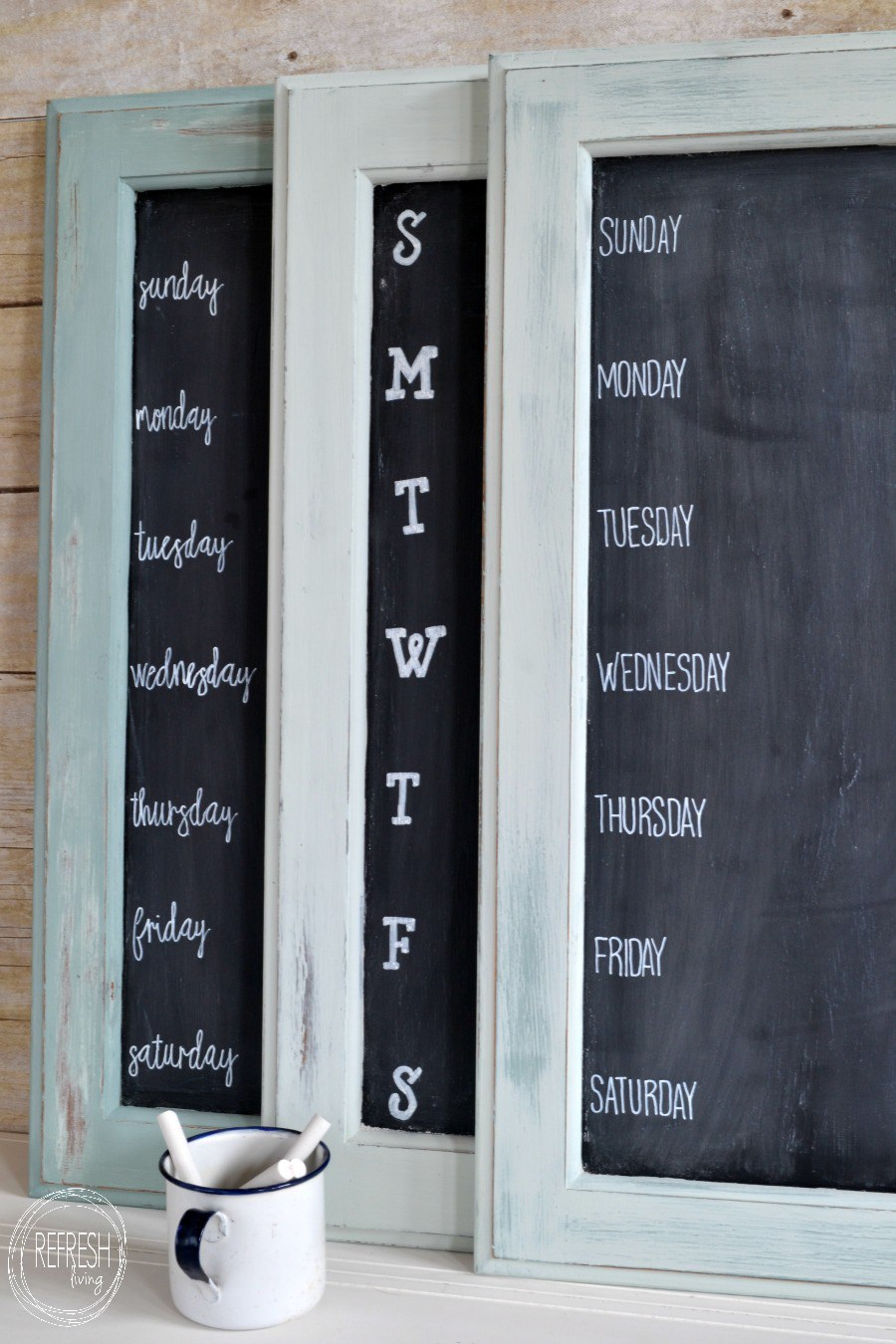 5 upcycled weekly menu chalkboards