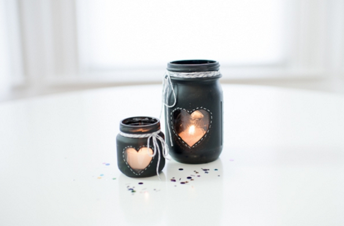 7 chalkboard heart candle holders
