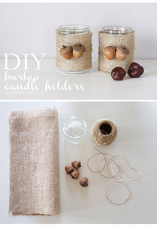 Burlap candle holders