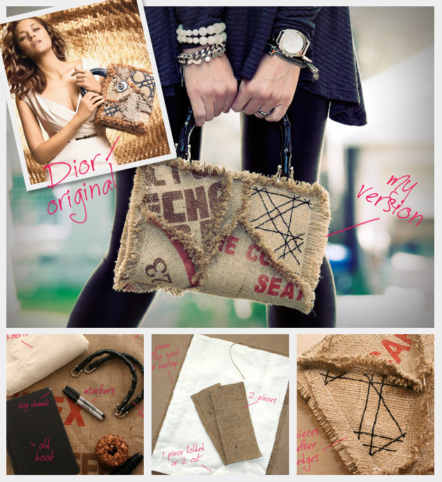 Burlap coffee sack purse