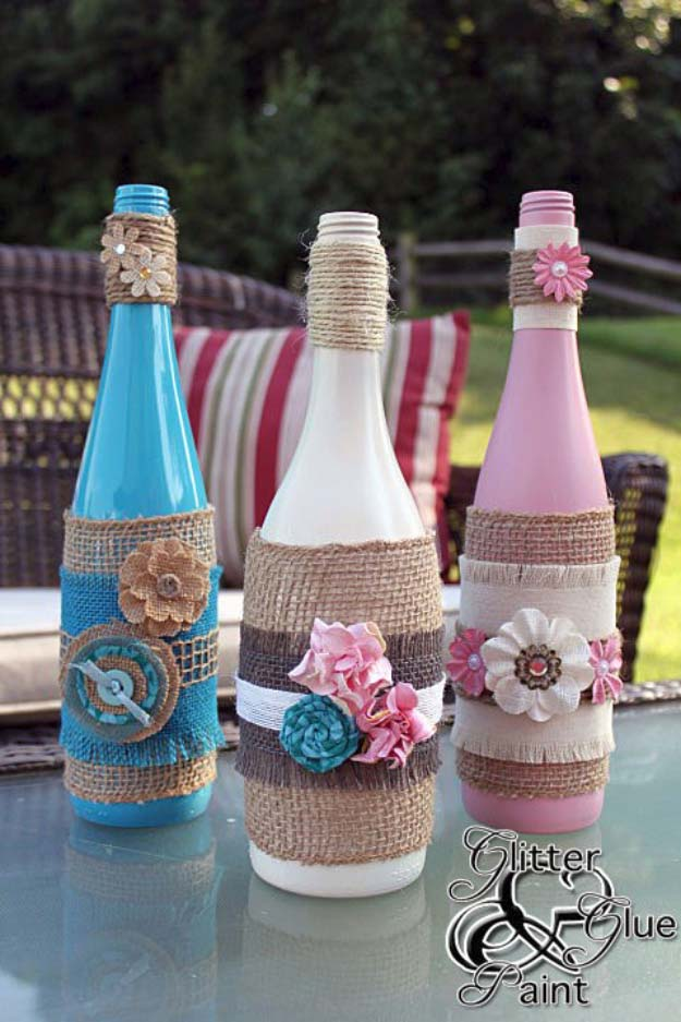 Burlap wrapped tiki wine bottles