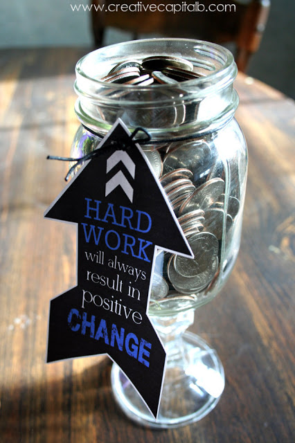 Change in a mason jar with printable