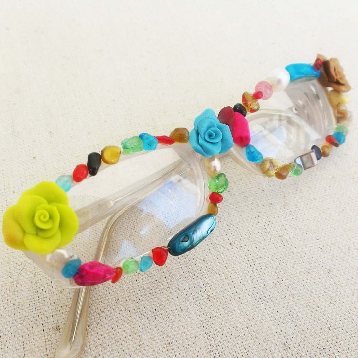 Clay roses and acrylic bead glasses