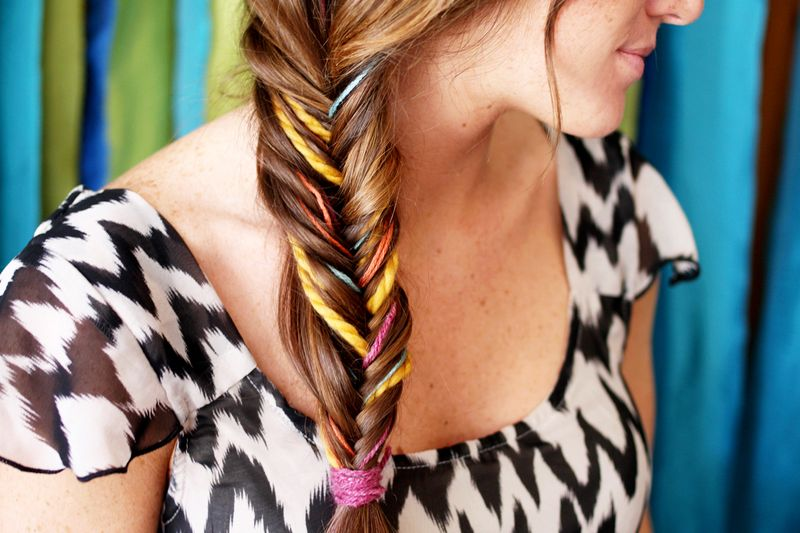 Colorful fishtail braid diy