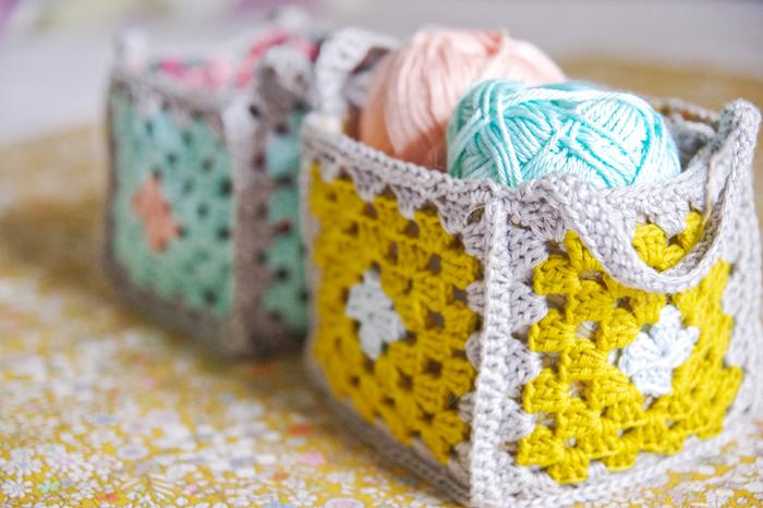 Crochet granny basket low