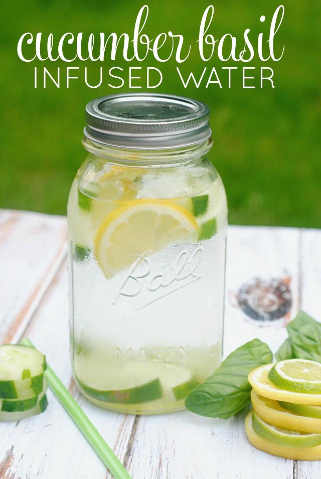 Cucumer basil infused water recipe 640×955