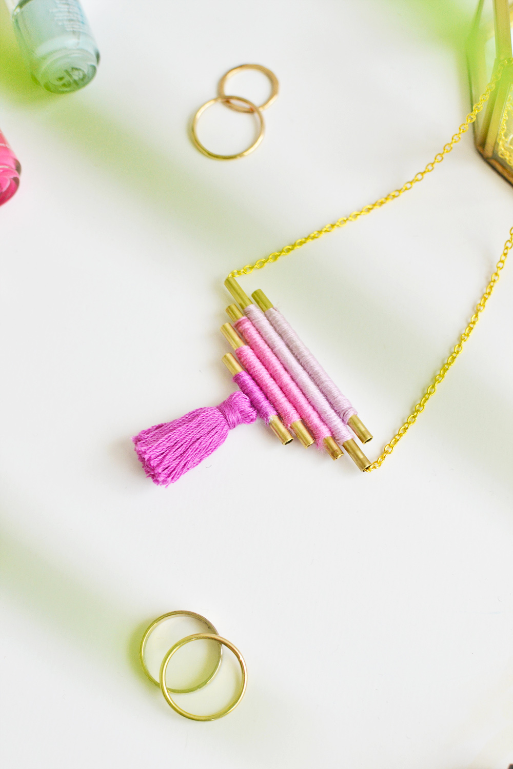 Diy ombre brass necklace 10