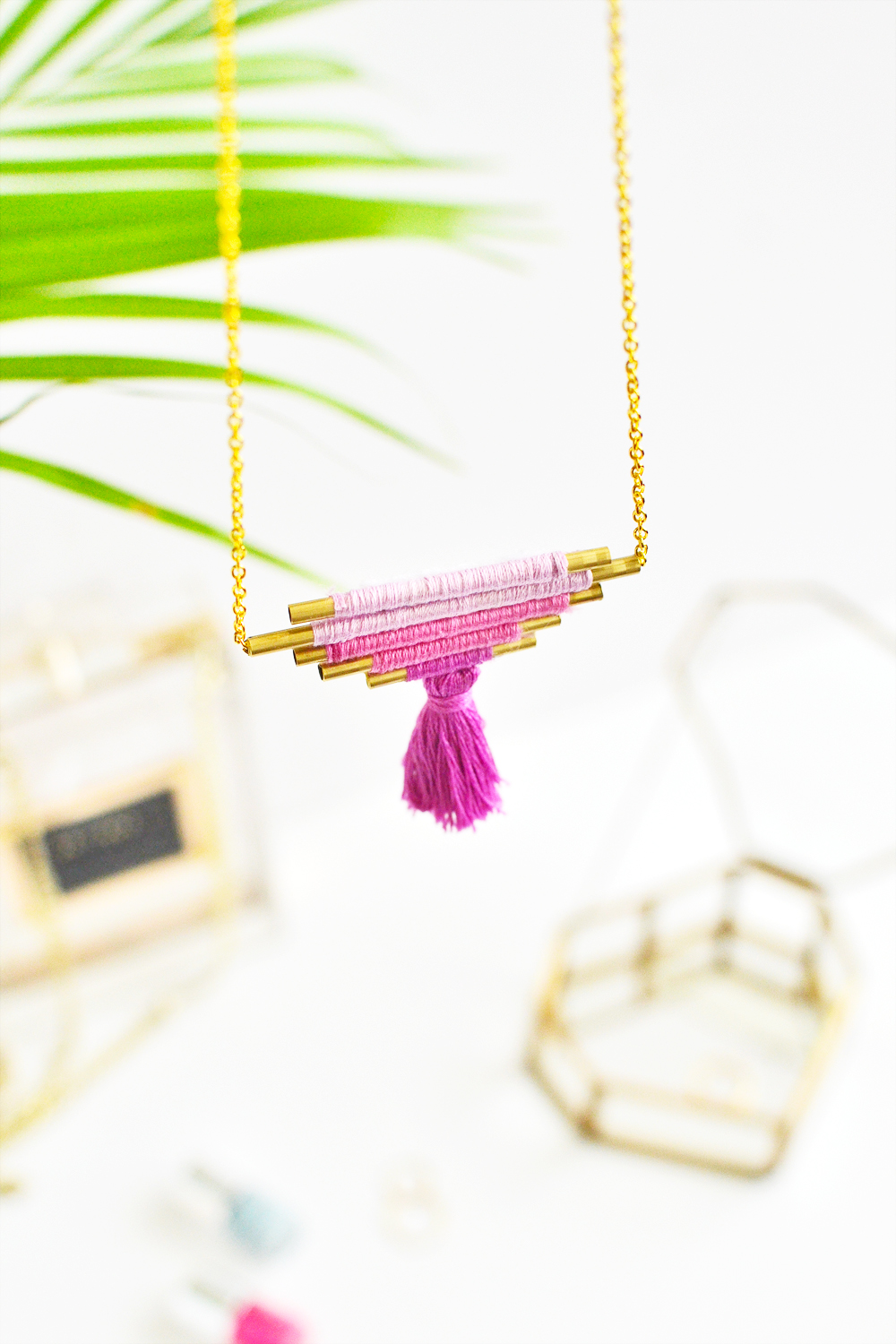 Diy ombre brass necklace 7