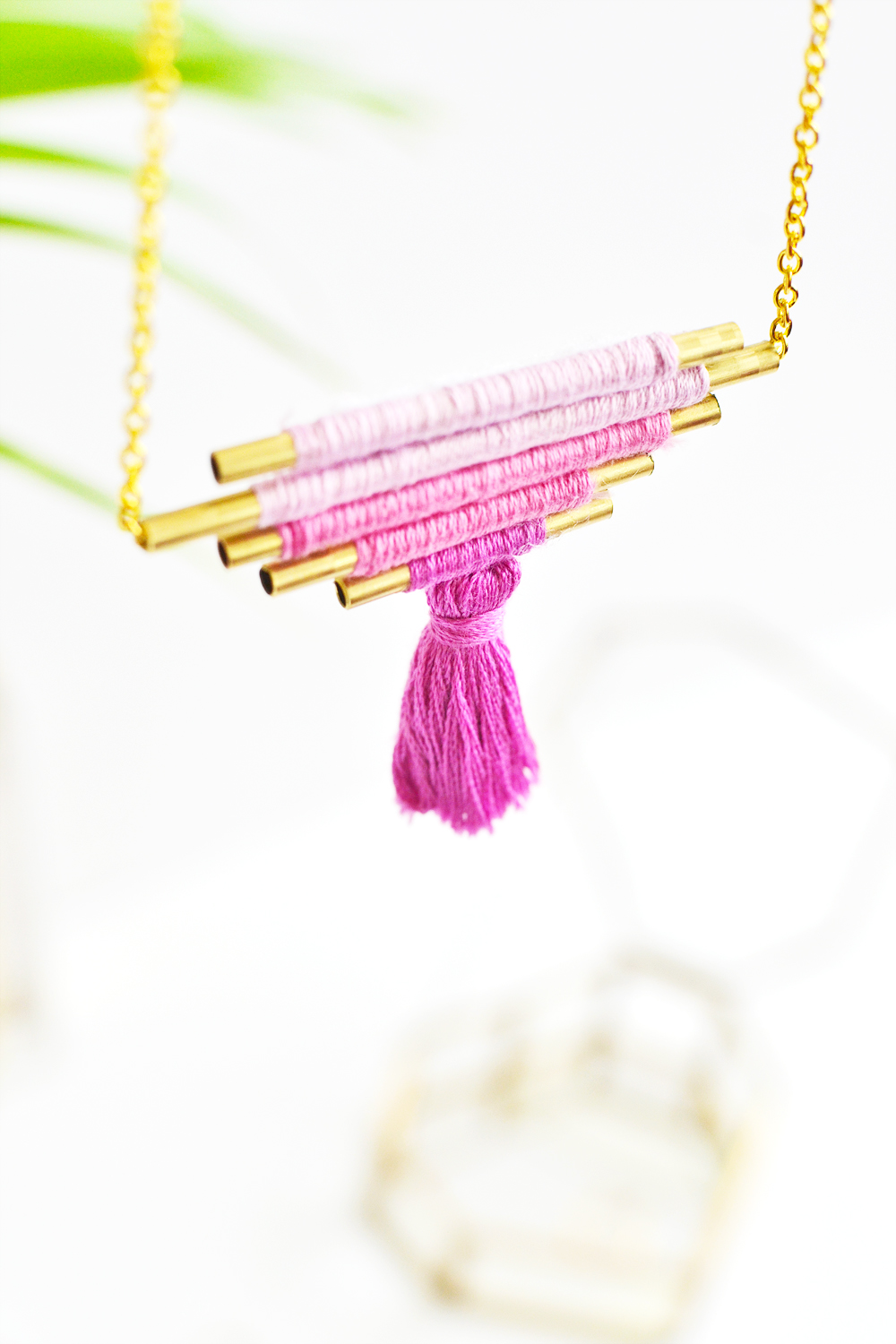 Diy ombre brass necklace 9