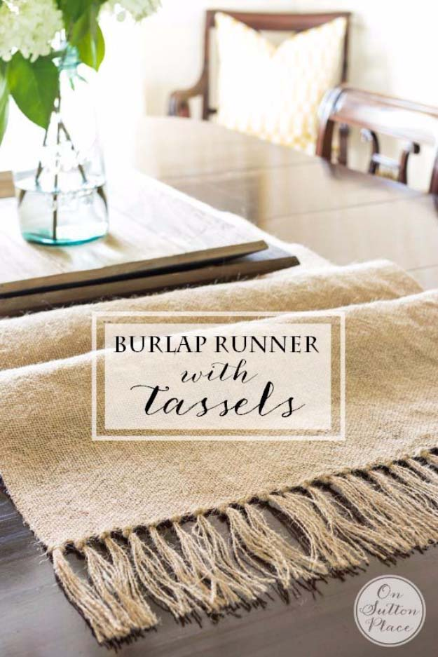 Diy burlap runner with tassels