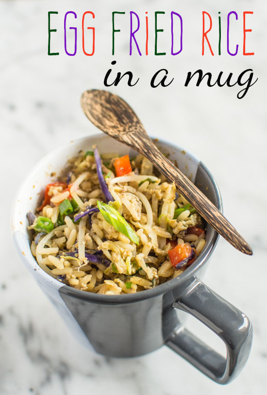 Egg fried rice in a mug title