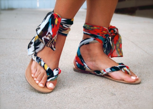Fabric gladiator sandal diy