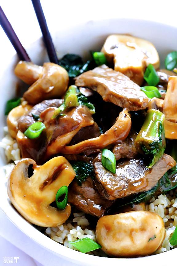 Ginger beef, mushroom, and kale stir fry