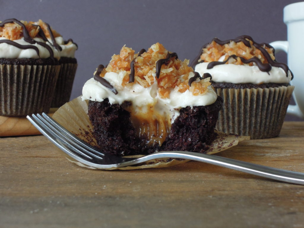 Gluten free vegan samoa cupcakes