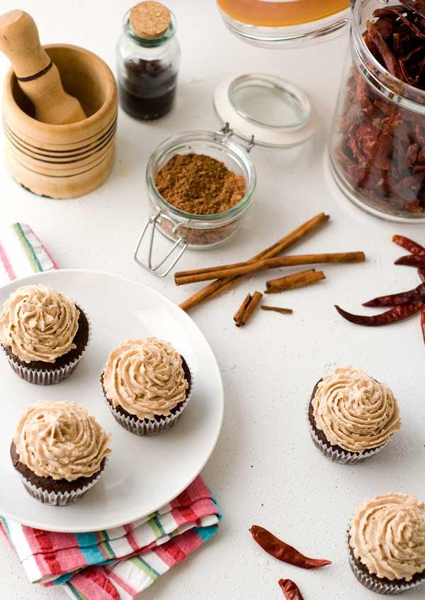 Gluten gree vegan mexican chocolate cupcakes