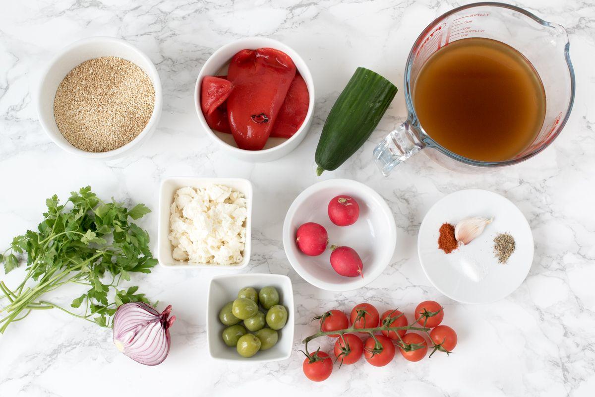 Greek quinoa bowl ingredients