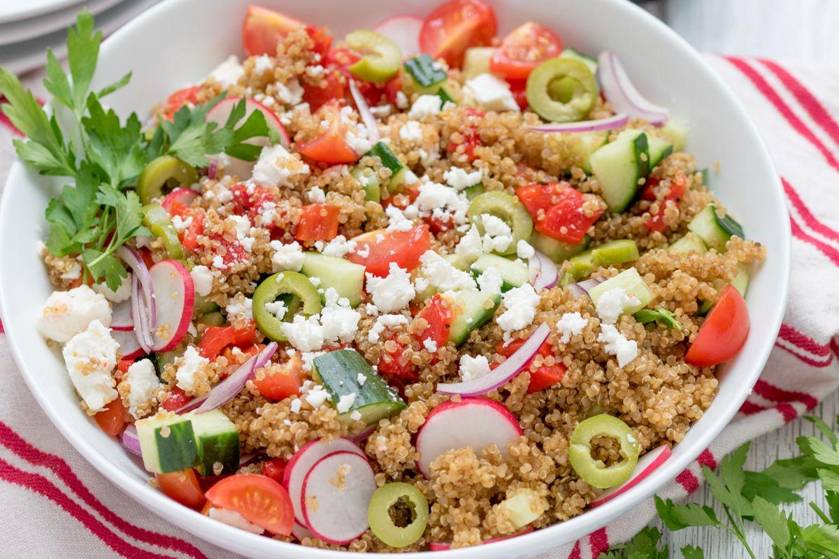 Greek quinoa bowl wide recipe