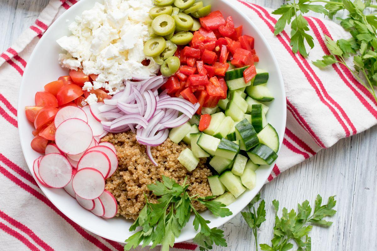 Greek quinoa bowl wide