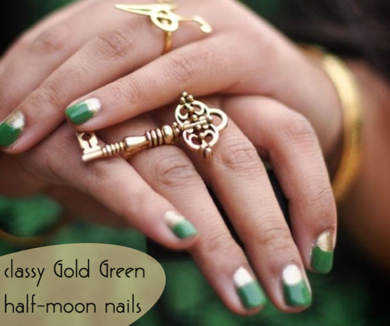 Green and gold half moon nails
