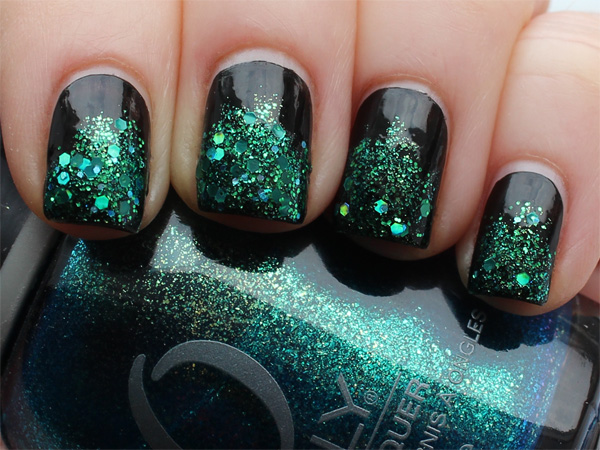 Green to black gradient glitter