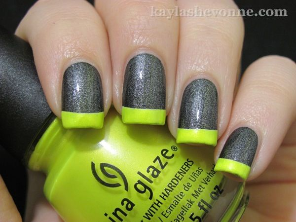 Grey glitter with lime green tips