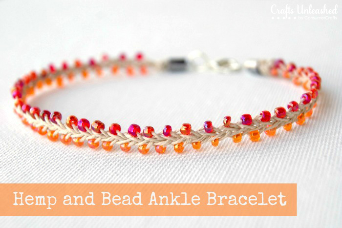 Hemp and bead anklet