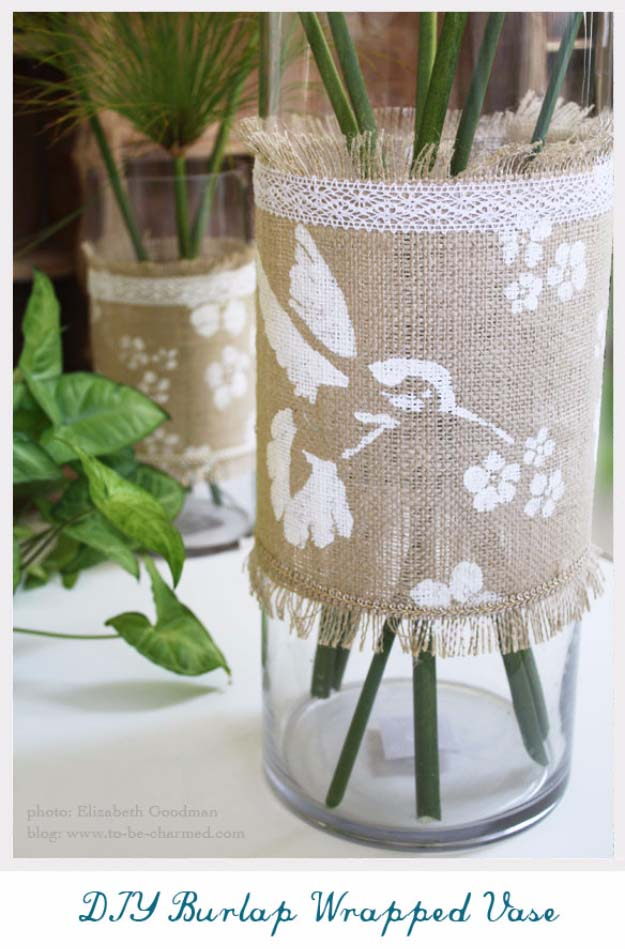 Lace and stencil burlap vase wrap