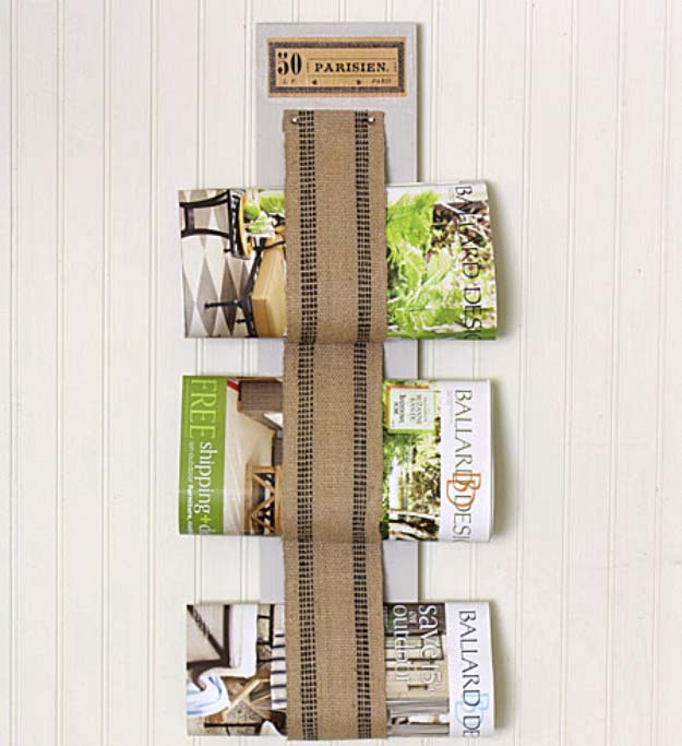 Looped burlap magazine rack