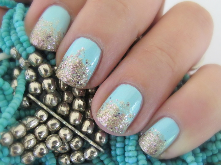 Mint and gold gradient glitter