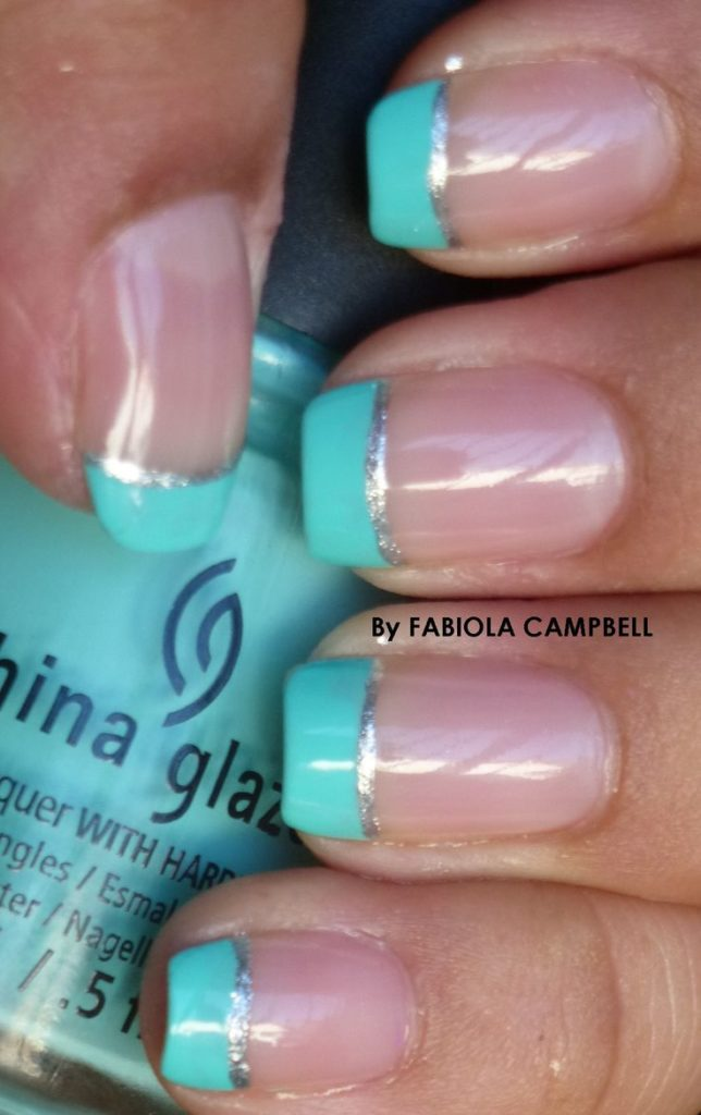 Mint and silver french manicure