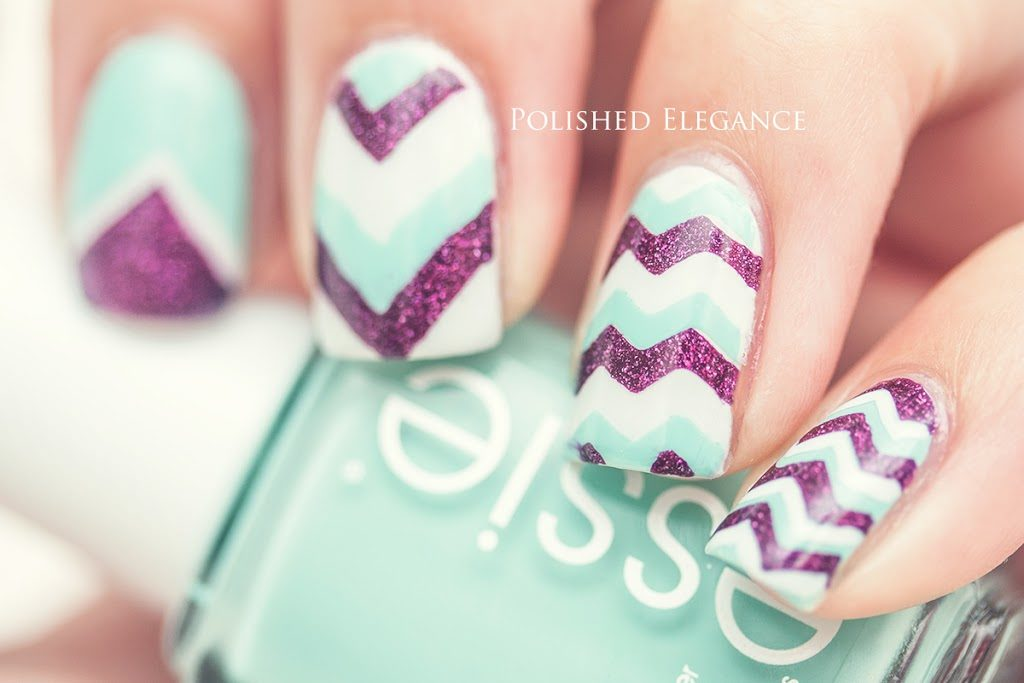 Mint, purple, and white zig zags