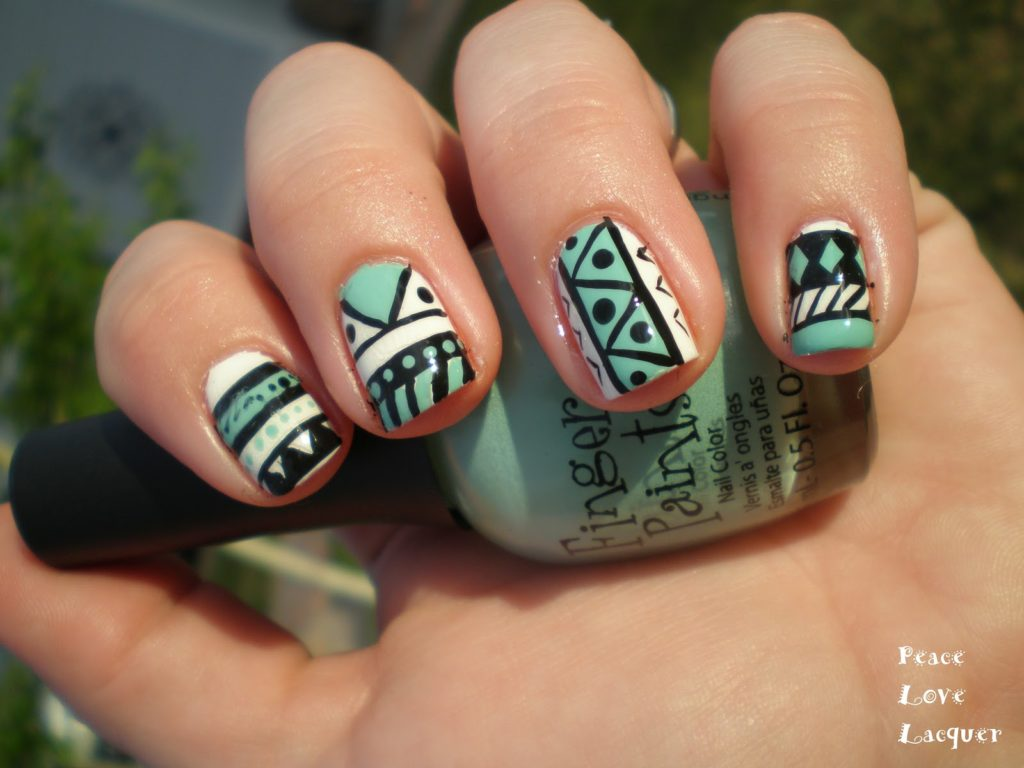 Mint tribal print