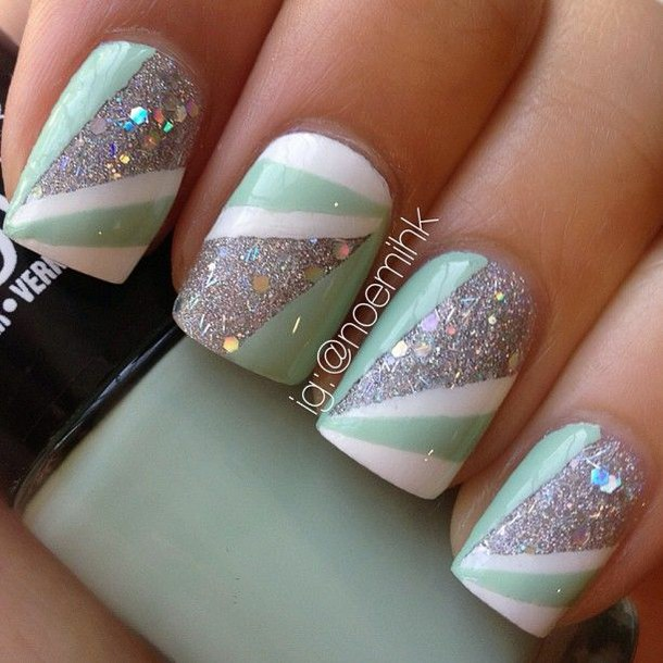 Mint, white, and glitter tape manicure