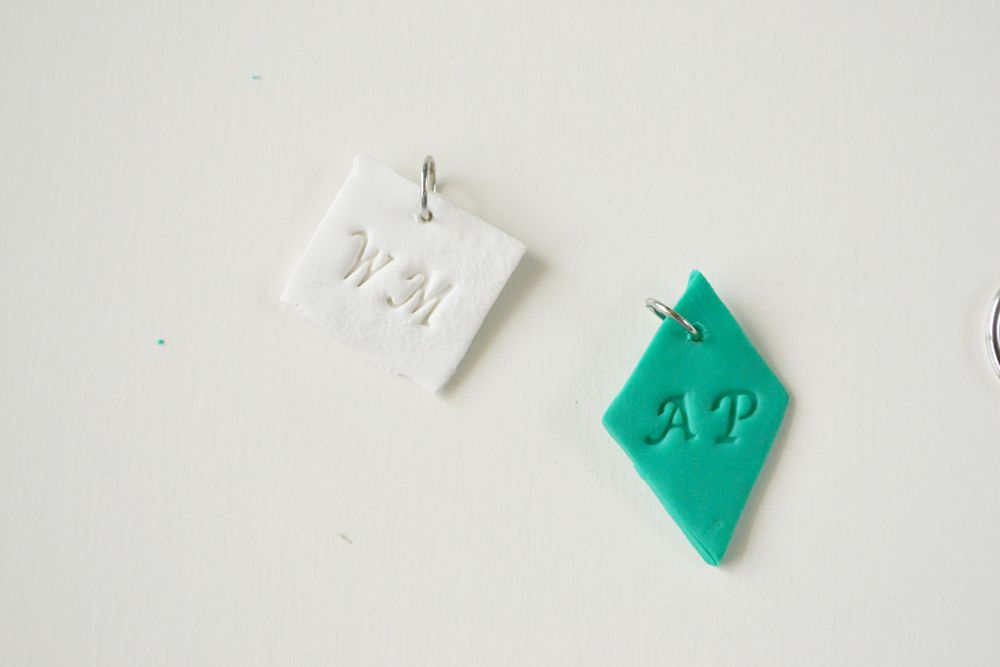 Monogrammed clay key chains 4