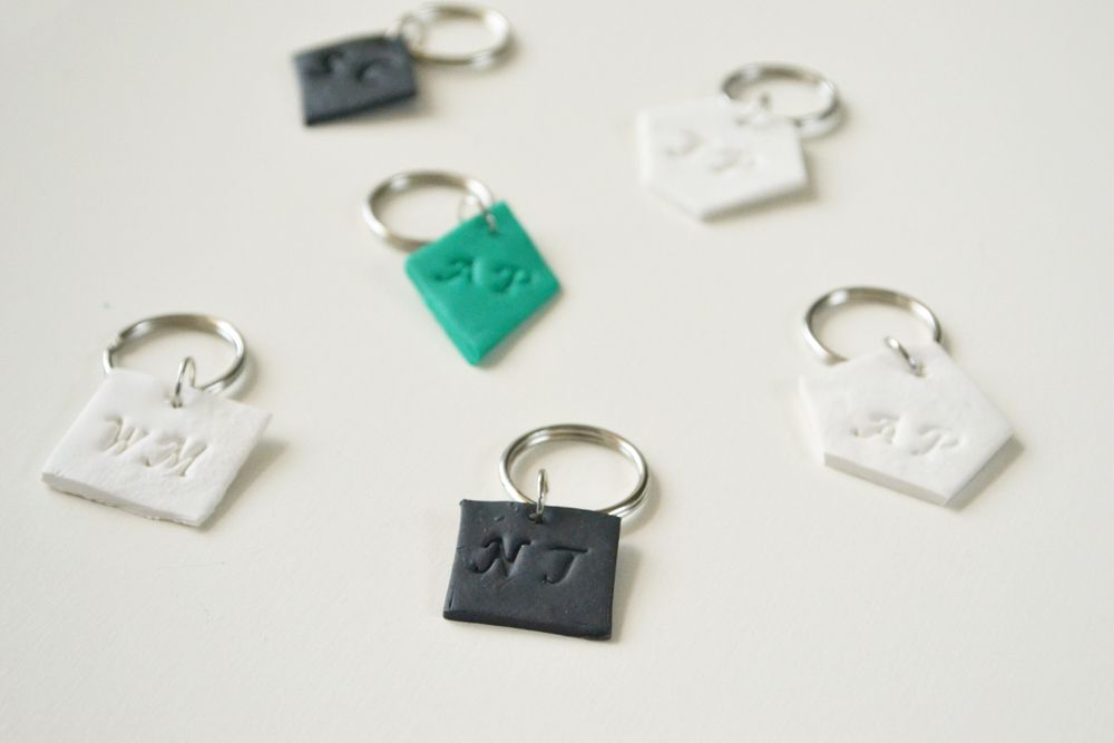 Monogrammed clay key chains 5