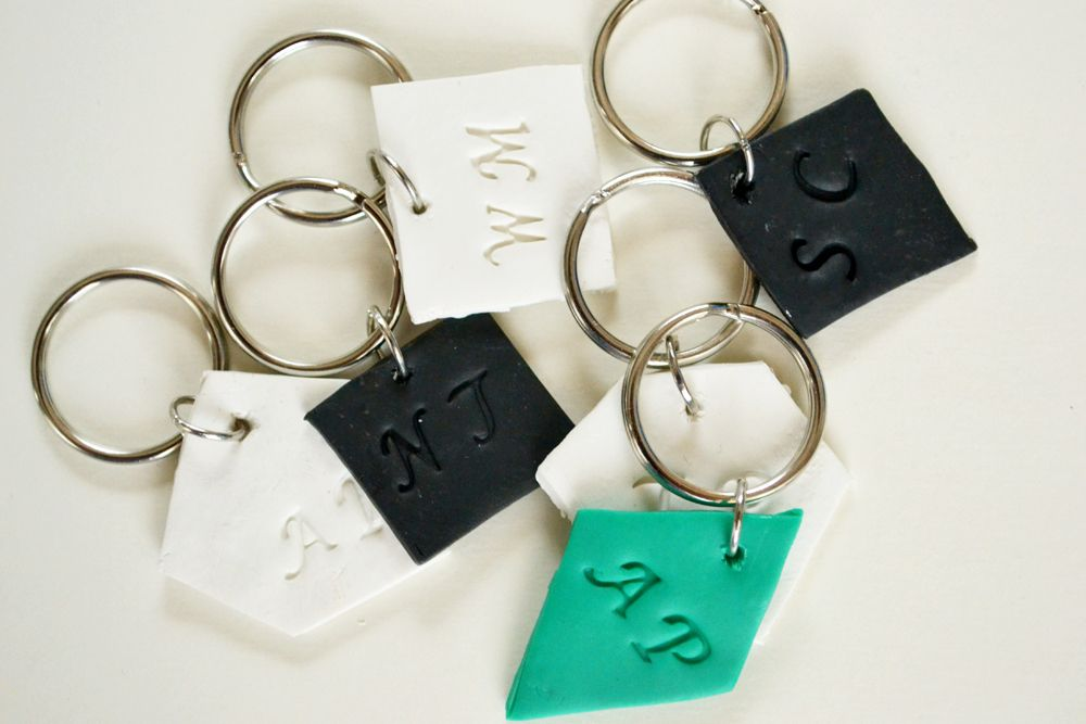 Monogrammed clay key chains 6