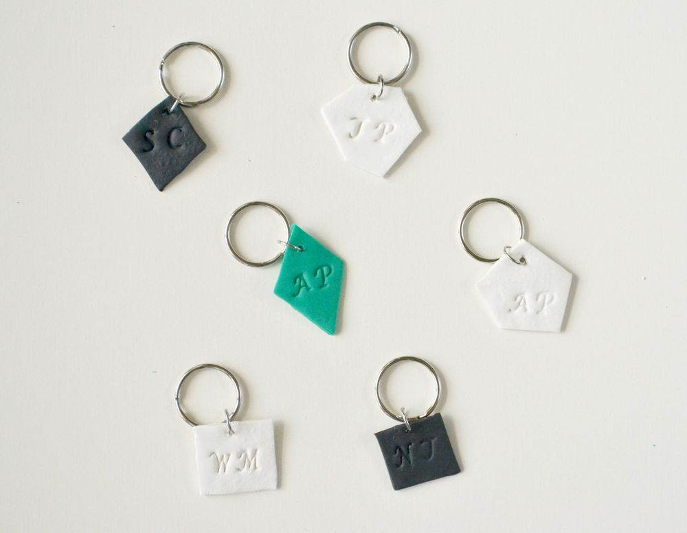Monogrammed clay key chains