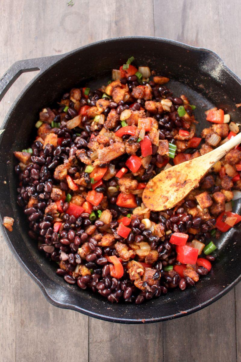Plantain hash black beans