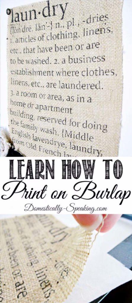 Printed burlap