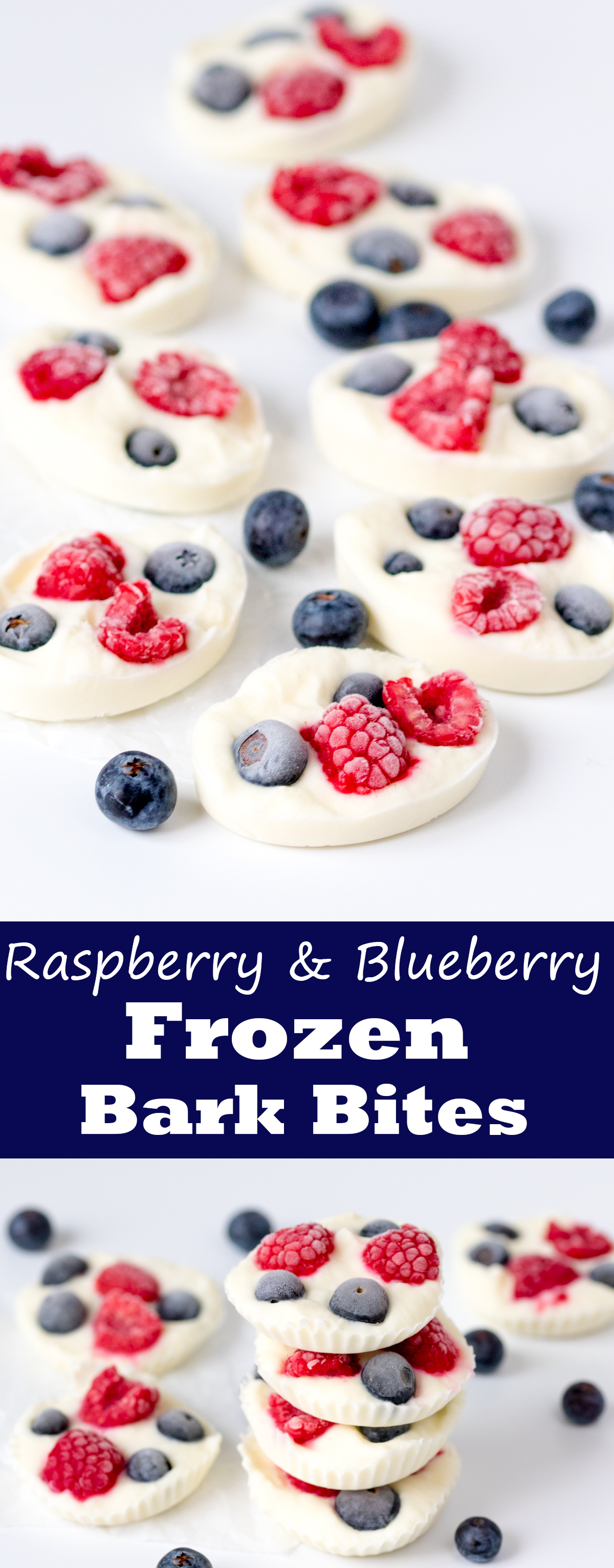 Raspberry and blueberry yogurt bark bites - a tasty snack that the kids will love! A great idea for Memorial day too!