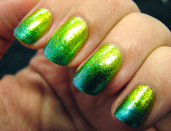 Sparkling bright green ombre