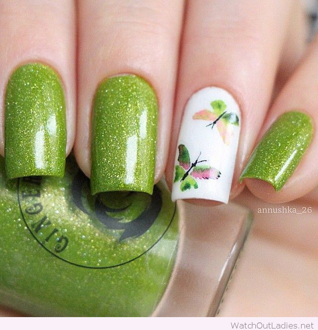 Sparkling green with butterflies