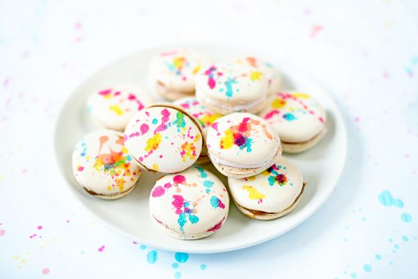 Splatter paint decorated macarons recipe 1303 2