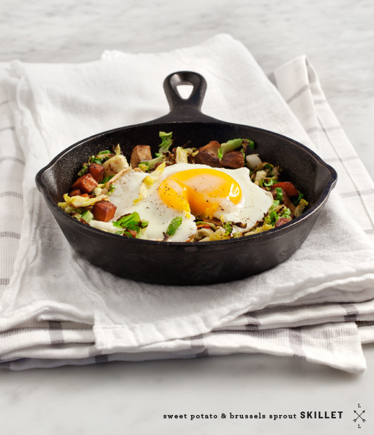 Sweet potato and brussels skillet