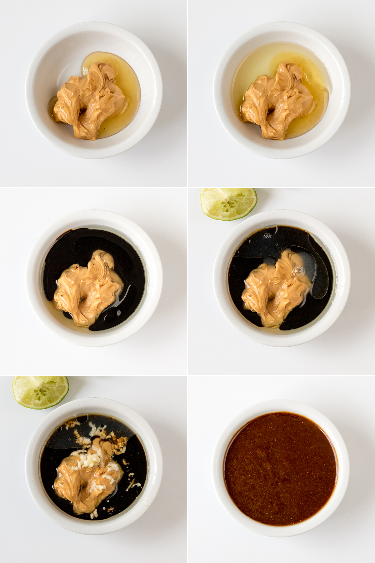 Thai chicken zoodle salad step 1 collage