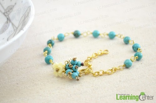 Turquoise and chain anklet