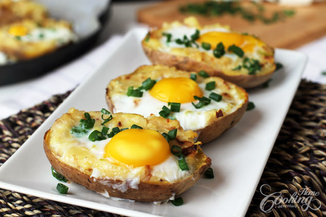 Twice baked potato with an egg on top
