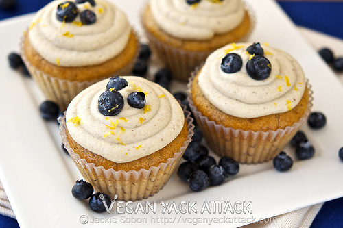Vegan blueberry banana cupcakes with lemon coconut frosting