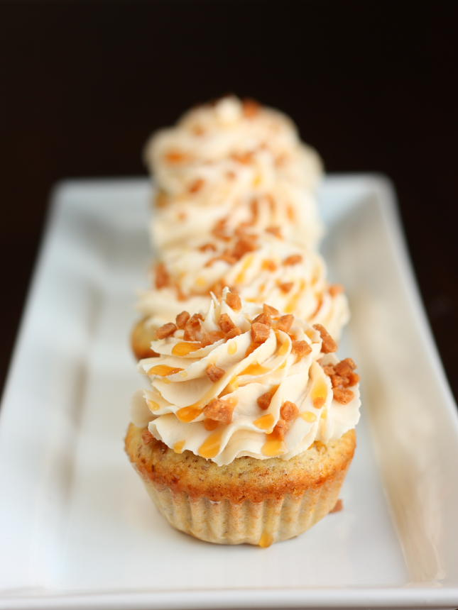 Vegan caramel ribbon crunch cupcakes